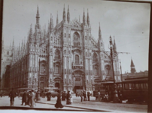 Photographie ancienne 1900 Cathédrale Milan Place Tramway Italie