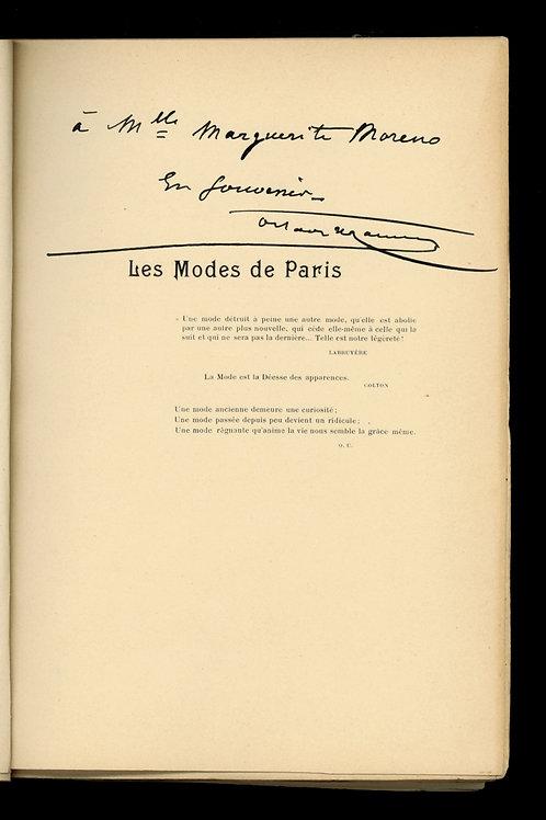 Octave Uzanne. Les Modes de Paris. Ex. offert à Marguerite Moreno (1898)