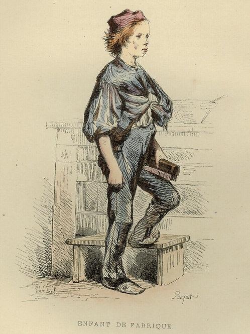 1842 ENFANT DE FABRIQUE OUVRIER Français gravure estampe aquarellée époque