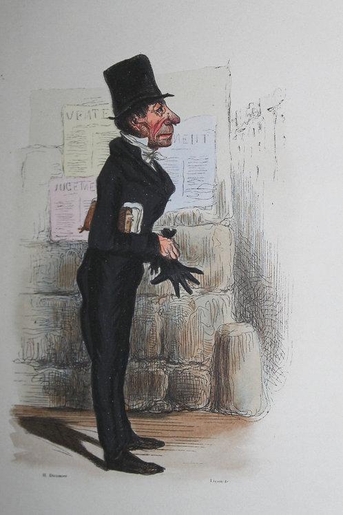 Très belle gravure sur bois coloriée d'après le dessin de Daumier (vers 1840).