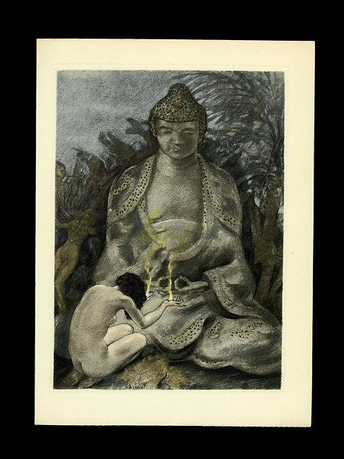 Edouard Chimot Estampe Eau-forte en couleurs vers 1935 Bouddha Femme offrande