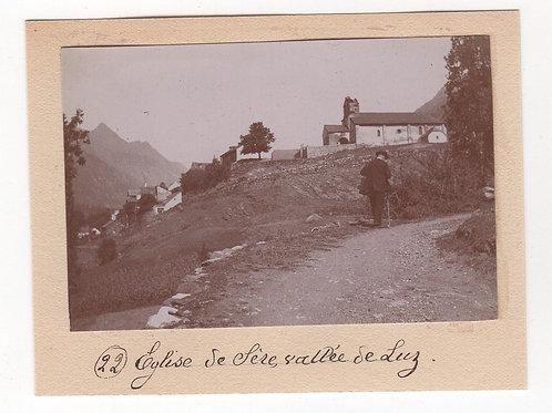 Photographie ancienne 1899 Vallée de Luz Hautes Pyrénées Montagne Eglise de Sère