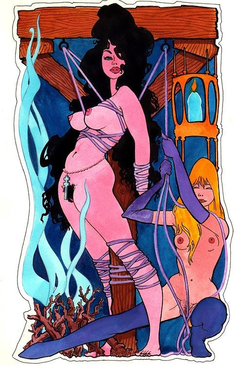 Dessin original style BD Fanzine - Brune, Blonde & Bondage (BDSM)