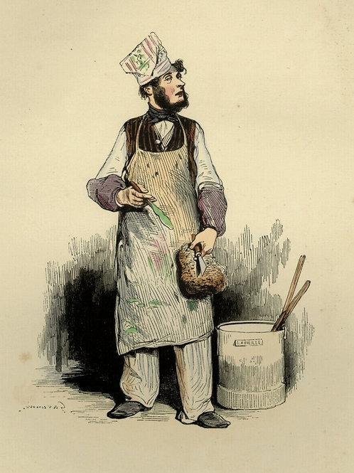 1842 ARTISAN PLÂTRIER PEINTRE Français gravure estampe aquarellée