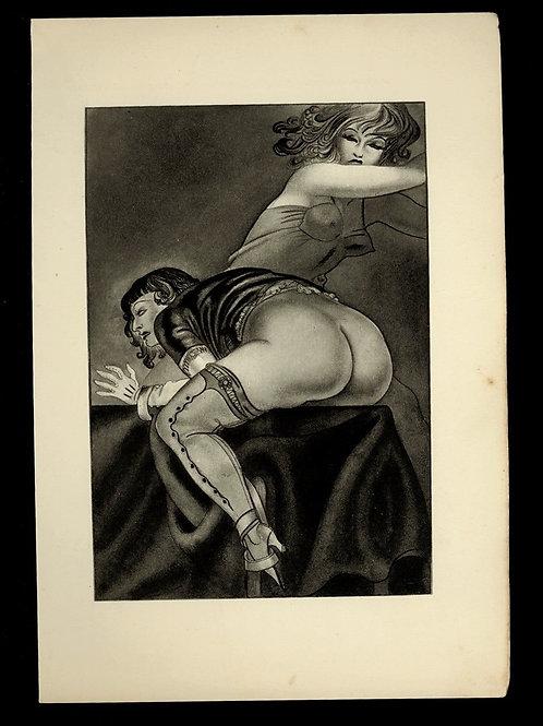 1936 Marilac illustration héliogravure Fouet Fessée bdsm curiosa superbe gravure