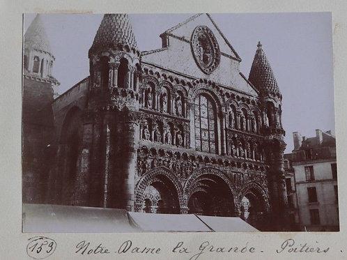 Photographie ancienne 1899 Notre-Dame La Grande Poitiers Vienne