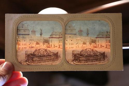 Photo ancienne stéréoscopique vers 1860 / 1870 Allemagne Fontaine de Trèves