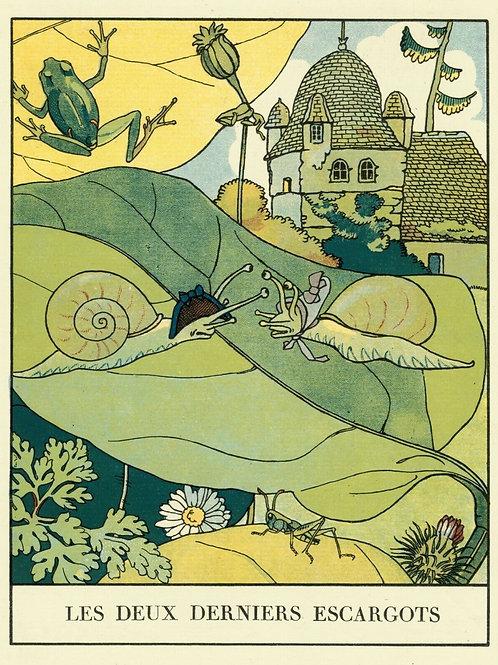 1932 ALBERT URIET illustration ENFANTINA Contes d'ANDERSEN Escargots