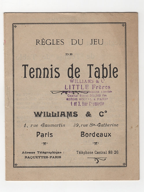 Williams & Co. Règles du jeu de Tennis de Table (1930). Éphémère rare