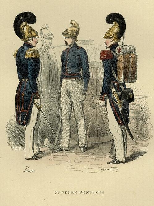 1842 SAPEURS POMPIERS UNIFORME Français gravure estampe aquarellée époque