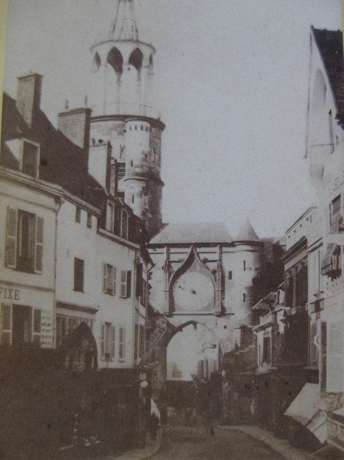 Photographie ancienne CDV Vue Porte Rempart Auxerre Bourgogne