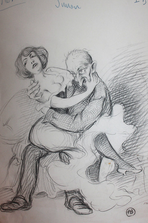 Caricature de presse originale dessin au fusain