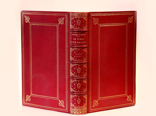 E. Montagne. Le roman d'un épicier (1882). Ex. sur Hollande. Maroquin signé