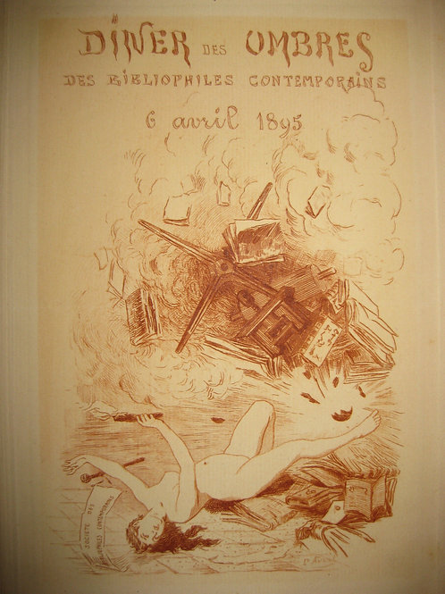 Menu illustré par Paul Avril pour les Bibliophiles Contemporains (Uzanne). 1889