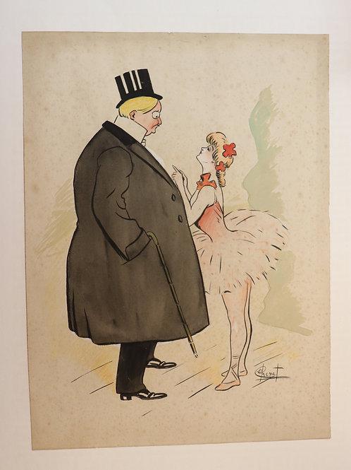 Chenet. Dessin original (1895-1900). Danseuse et son Monsieur.