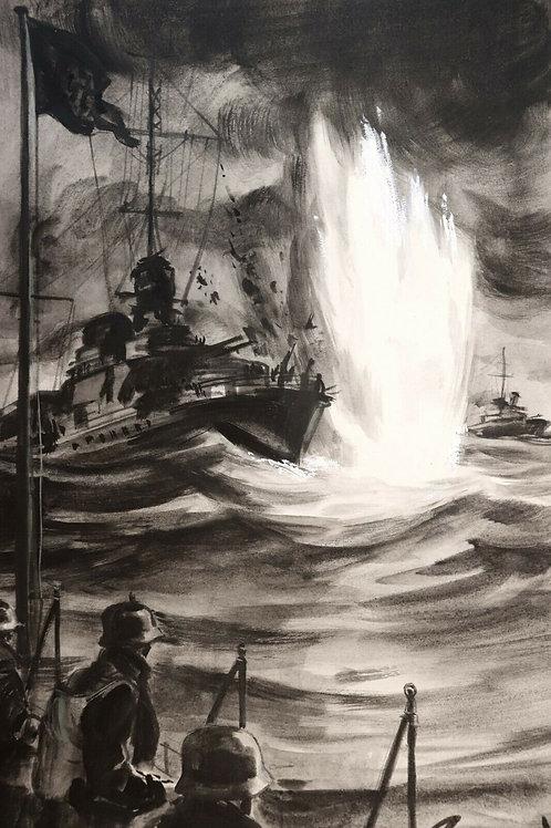 1966 Dessin original Raymond Lavis Roman-Photo Télé Poche guerre navale WW2
