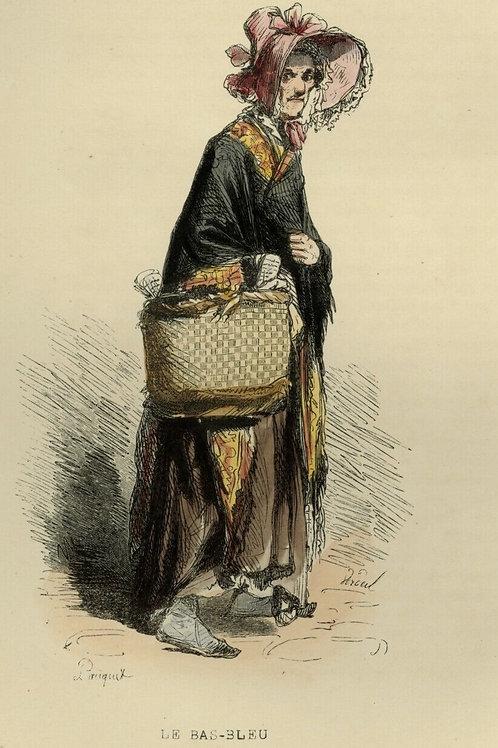 1842 VIEILLE FEMME BAS-BLEU Les Français gravure estampe aquarellée époque