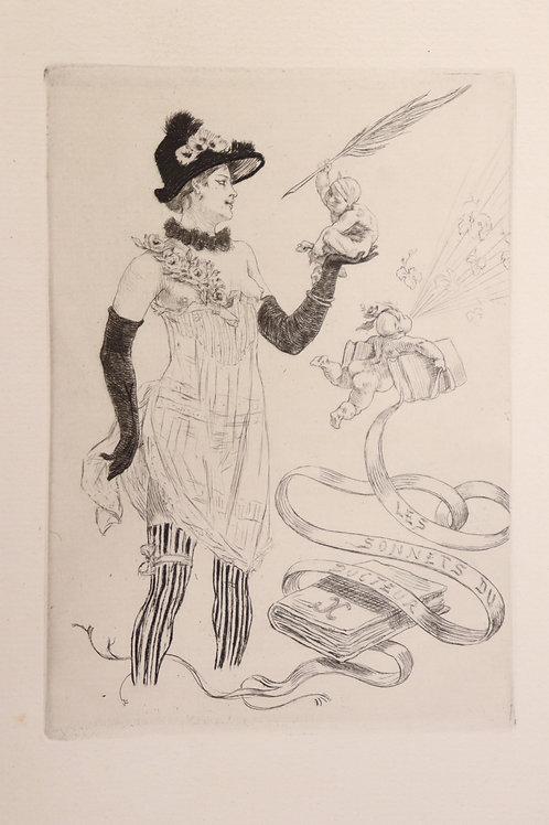Félicien Rops. Eau-forte originale de 1884 pour les Sonnets du Docteur. 350 ex.