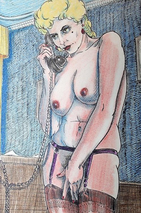 Dessin original. Cougar au téléphone. Vers 1950-1960