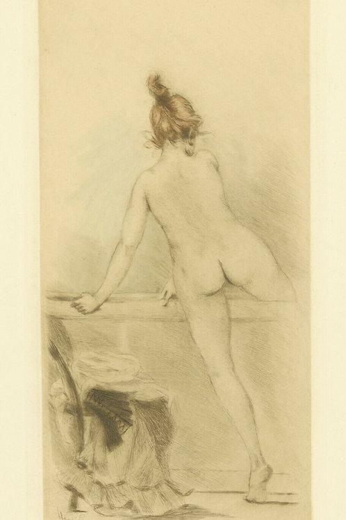 1894 HENRI BOUTET Pointe sèche FEMME A ALA BAIGNOIRE féminin etching 1/400 ex.