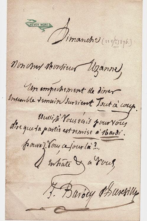 Billet autographe de Jules Barbey d'Aurevilly à Octave Uzanne (1877)