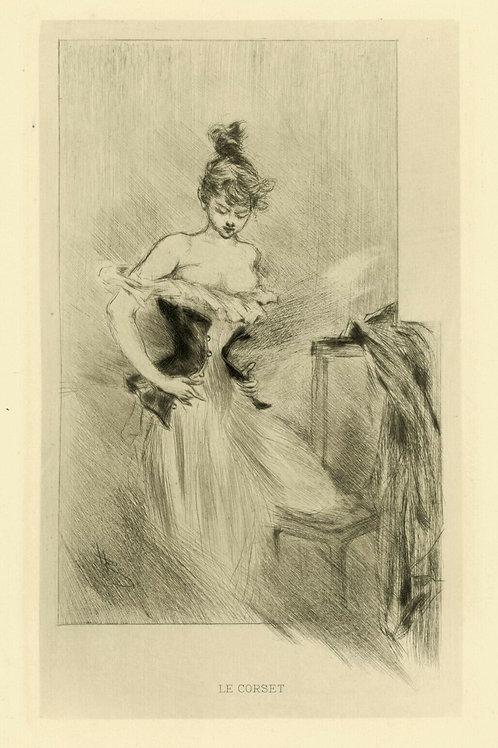 1894 HENRI BOUTET Pointe sèche LE CORSET femme féminin etching 1/400 ex.