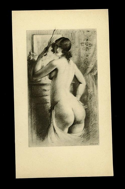 illustration héliogravure Fouet Fessée curiosa nu féminin années 30