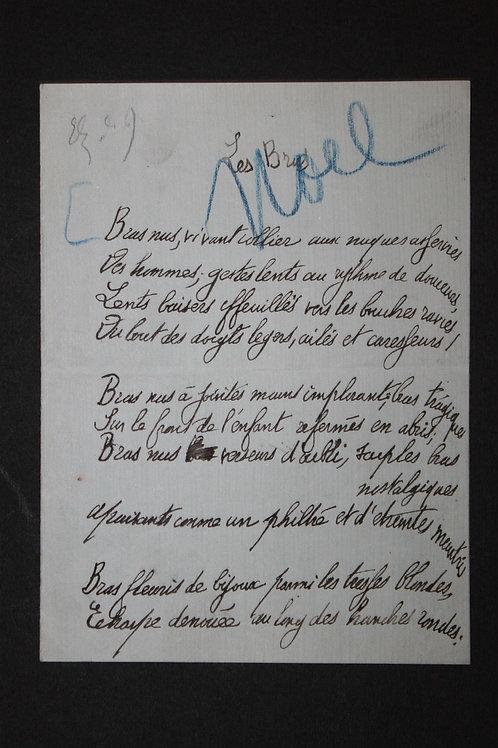 Poème autographe par Jean Lorrain (1905). Les Bras