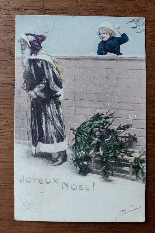 CPA fantaisie Joyeux Noël 1903 Père Noël enfants