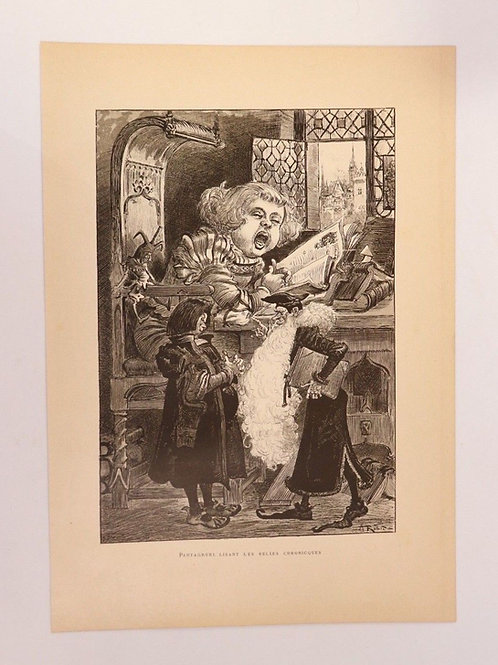 1886 Albert Robida Gravure en couleurs chromotypogravure Rabelais n°4 Pantagruel