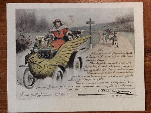 Carte de voeux pour Octave Uzanne (1902). Paul Avril