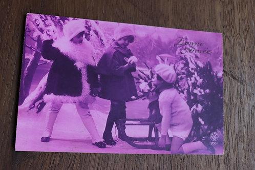 CPA fantaisie vintage rétro Bonne année 1929 enfants neige Luge