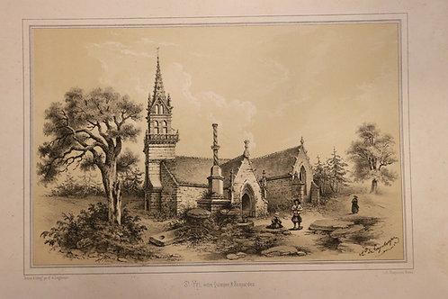 1854 Finistère Bretagne Lithographie A. Longchamps St Yvi Quimper Rosporden