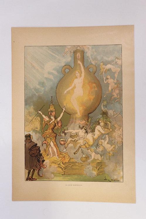 1886 Albert Robida Gravure en couleurs chromotypogravure gillotage Rabelais n°13