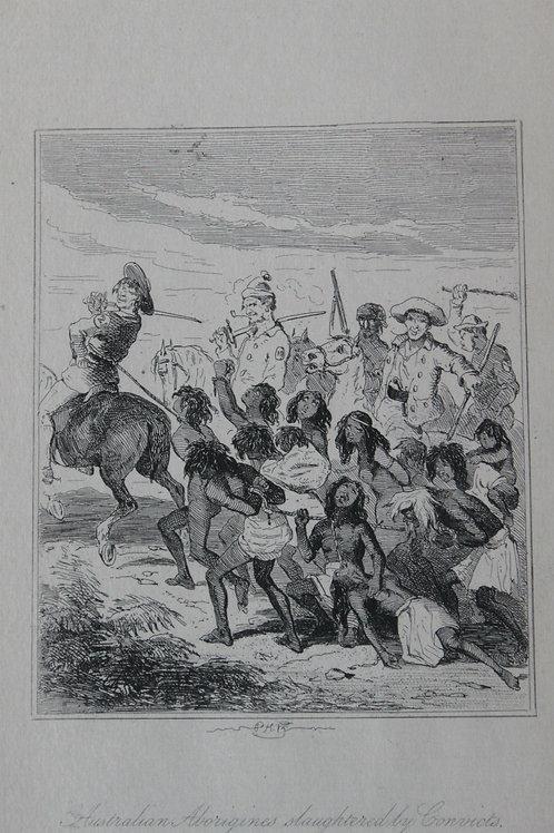 1880 Gravure Phiz Chronicles of crime, Australian Aborigines slaughteredly convi