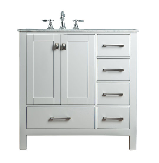 "36"" Malibu Pure White Single Sink Vanity"
