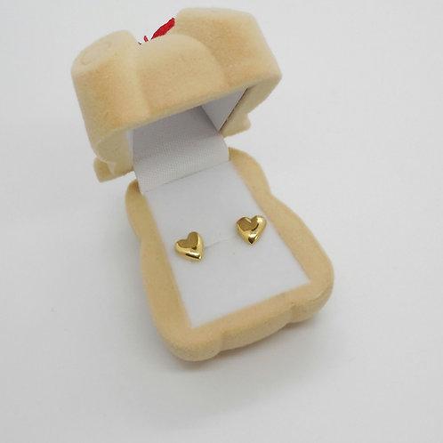 Aretes de oro 18k corazón