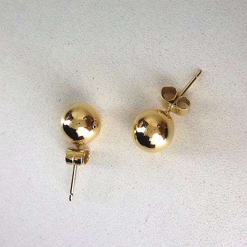 Aretes de oro 18k esferas