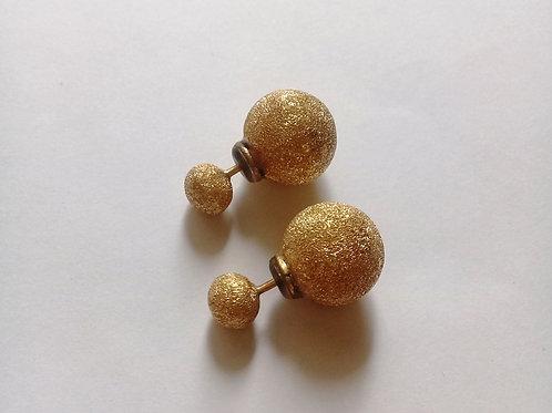 Aretes de oro 18k doble esfera