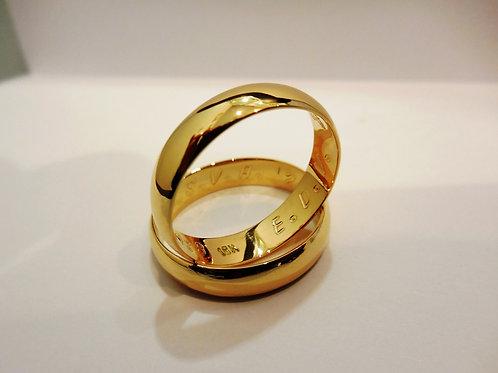 Aro de matrimonio media caña en oro