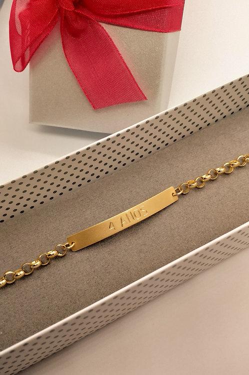 Pulsera de oro con placa personalizada de oro 18k
