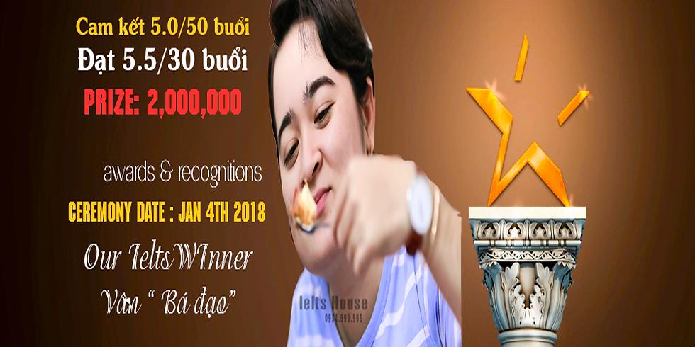 Phát Thưởng Cam Kết Ielts cho Vân Lê 6 JAn 2018.