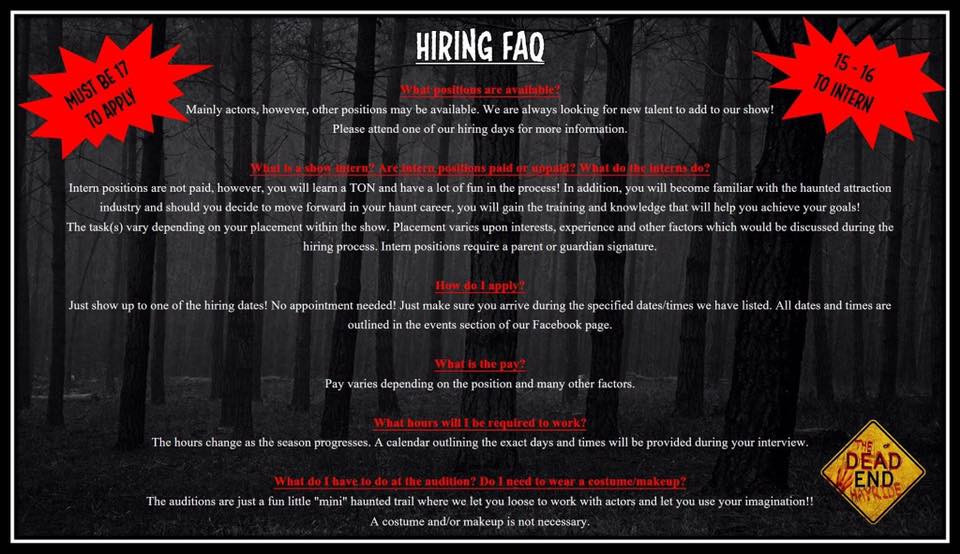 The Dead End Hayride Wyoming Minnesota Hiring FAQ