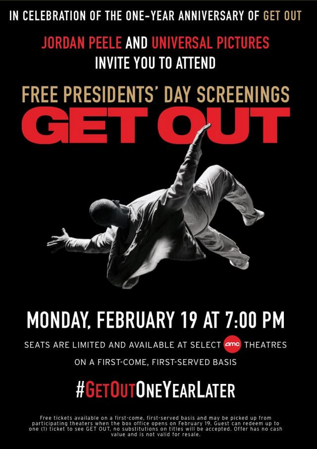 Free Presidents Day Screening GET OUT
