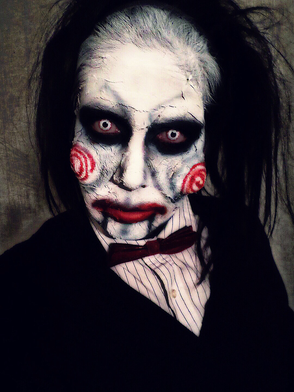 Jacquie Lantern Billy the Puppet Makeup SAW / JIGSAW