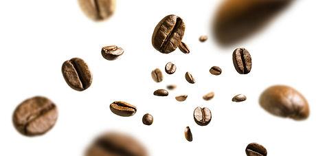 Coffee beans in flight on white backgrou