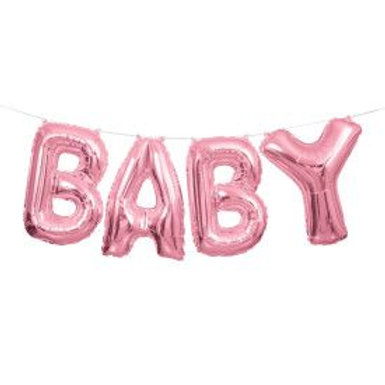 "Balloon Banner 14"" Baby Pink"