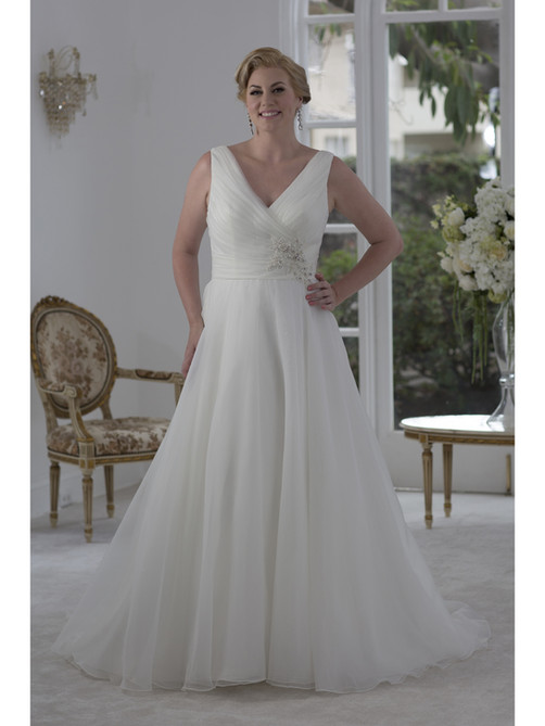 Organza tank style with wide shoulder straps. Rouched bodice with side beaded applique at natural waist. A-line skirt and embroidered illusion back with buttons. Court length train.