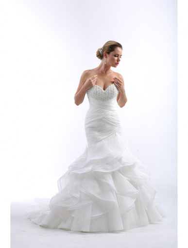 Strapless Fitted Mermaid With Sweetheart Heavily Beaded. Rouched Bodice With Multi Tiered Skirt. Zipper Back With Buttons. Chapel Train.