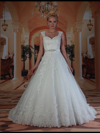 Sweetheart neckline allover lace ballgown with wide lace straps and lace hem. Detachable beaded belt. Low dopped back. Zipper back and court train.
